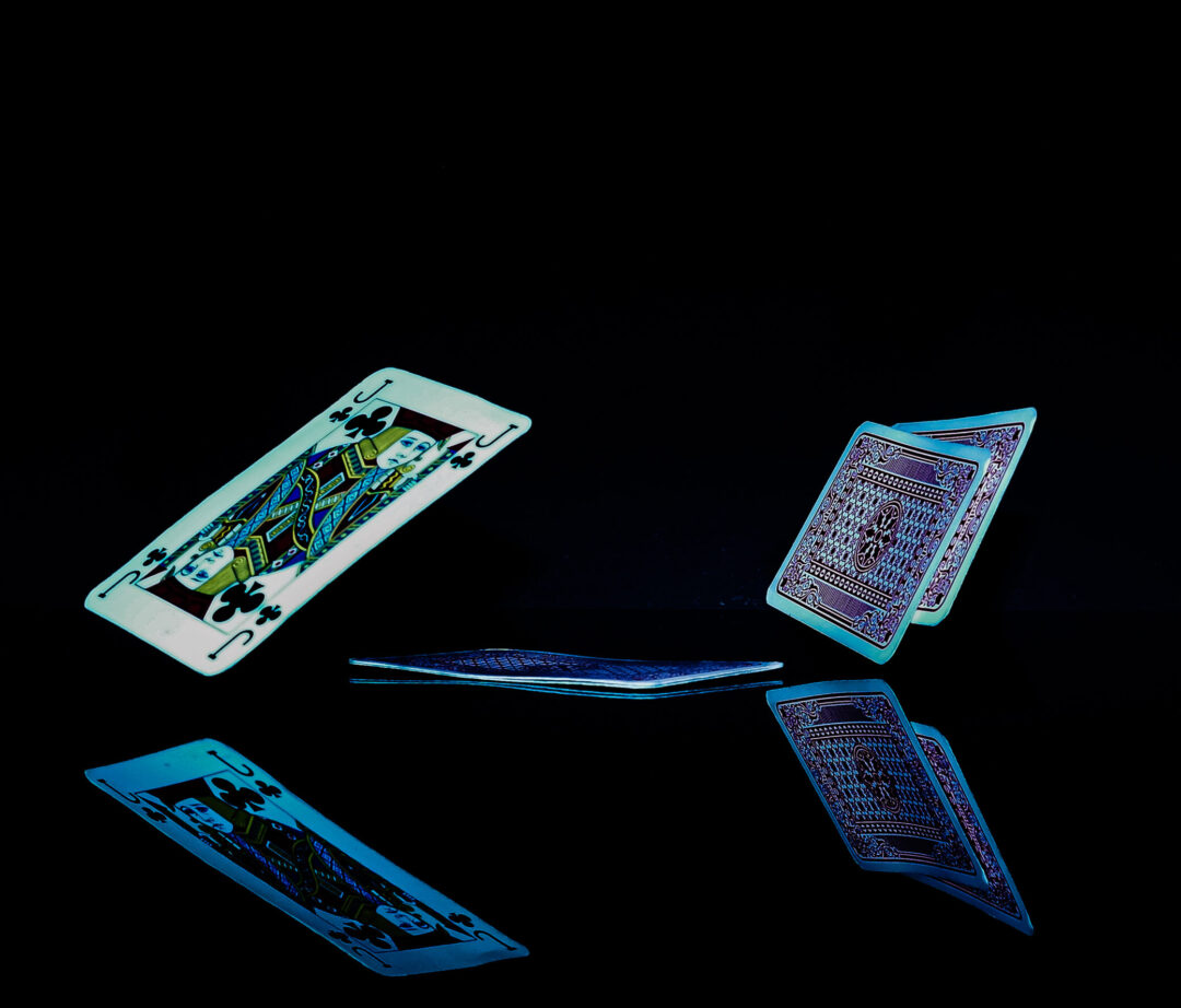 Photo achieved with a fast shutter-speed. playing cards falling.