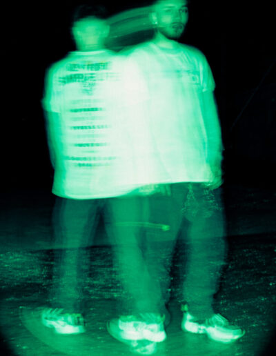 Photo shot at night using a slow shutter speed to add distortion. Edited to look like nightvision.
